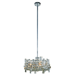 "Picasso Collection Pendant Lamp L:14"" W:14"" H:9"" Lt:4 Chrome Finish Royal Cut Clear"