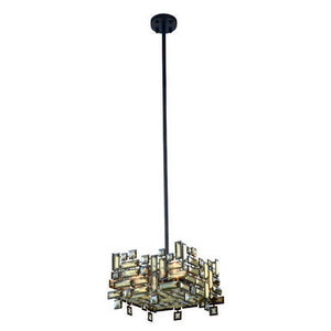 "Picasso Collection Pendant Lamp L:14"" W:14"" H:9"" Lt:4 Dark Bronze Finish Royal Cut Golden Teak"