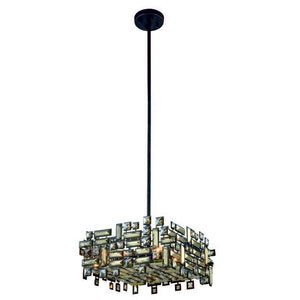 "Picasso Collection Pendant Lamp L:18"" W:18"" H:9"" Lt:4 Dark Bronze Finish Royal Cut Golden Teak"