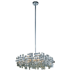 "Picasso Collection Pendant Lamp L:21"" W:21"" H:9"" Lt:6 Chrome Finish Royal Cut Clear"