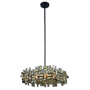 "Picasso Collection Pendant Lamp L:21"" W:21"" H:9"" Lt:6 Dark Bronze Finish Royal Cut Golden Teak"