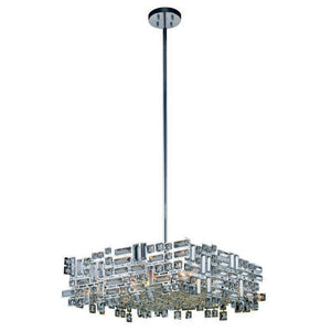 "Picasso Collection Pendant Lamp L:24"" W:24"" H:9"" Lt:6 Chrome Finish Royal Cut Clear"