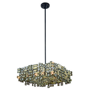 "Picasso Collection Pendant Lamp L:24"" W:24"" H:9"" Lt:6 Dark Bronze Finish Royal Cut Golden Teak"