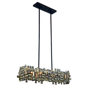"Picasso Collection Pendant Lamp L:35"" W:11"" H:9"" Lt:6 Dark Bronze Finish Royal Cut Golden Teak"