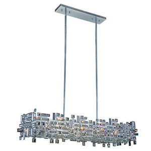 "Picasso Collection Pendant Lamp L:44"" W:14"" H:9"" Lt:8 Chrome Finish Royal Cut Clear"