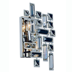 "Picasso Collection Wall Sconce W:8"" H:12"" E:3.5"" Lt:2 Chrome Finish Royal Cut Clear"