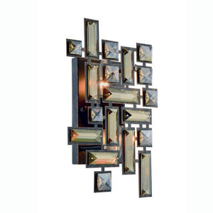 "Picasso Collection Wall Sconce W:8"" H:12"" E:3.5"" Lt:2 Dark Bronze Finish Royal Cut Golden Teak"