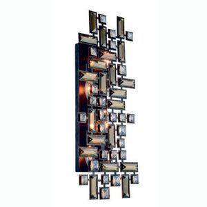 "Picasso Collection Wall Sconce W:22"" H:9"" E:3.5"" Lt:4 Dark Bronze Finish Royal Cut Golden Teak"