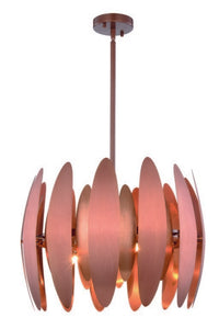 "Lily Collection Pendant Lamp D:20"" H:14.5"" Lt:6 Brushed Copper Finish"