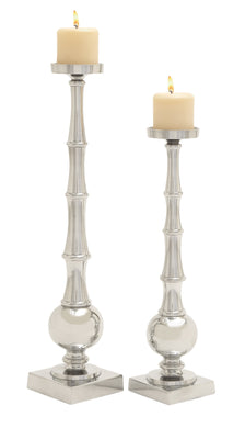 Tall And Unique Aluminum Candle Holder Set Of 2