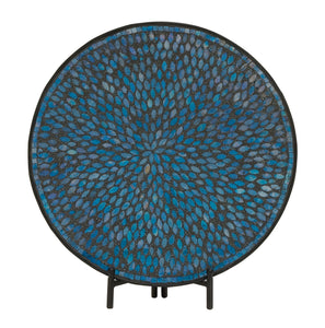 Unique Metal Blue Mosaic Platter With Easel