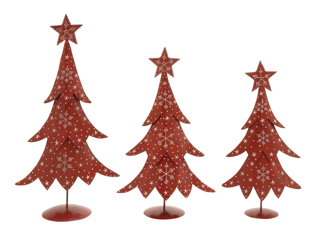Set Of 3 Metal Xmas Tree