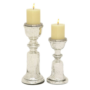 Enthralling Set Of Two Glass Candle Holder