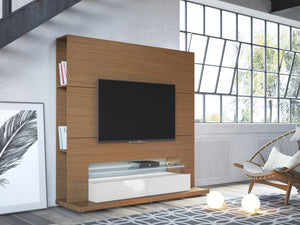 Manhattan Comfort Riverside Freestanding Theater Entertainment Center with LED Lights in Maple Cream and Off White