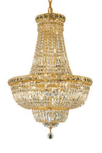 2528 Tranquil Collection Hanging Fixture D22in H31in Lt:22 Gold Finish (Swarovski Spectra Crystals)