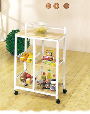 Acme Sitara Kitchen Cart, White & Natural