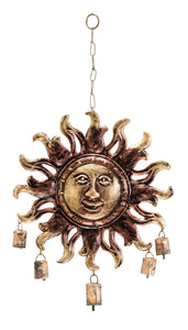 Sun Face Metal Wind Chimes Gardendecor With 5 Metallic Bells