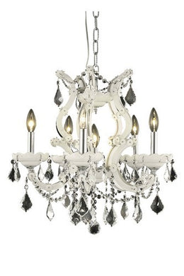 2800 Maria Theresa Collection Hanging Fixture D20in H25in Lt:5+1 White Finish (Elegant Cut Crystal)
