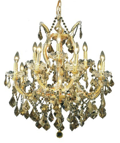 2800 Maria Theresa Collection Hanging Fixture D27in H26in Lt:8+4+1 Gold Finish (Royal Cut Golden Teak)