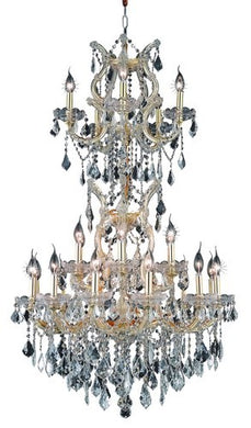 2800 Maria Theresa Collection Large Hanging Fixture D30in H50in Lt:23+2 Gold Finish (Swarovski Strass/Elements Crystals)