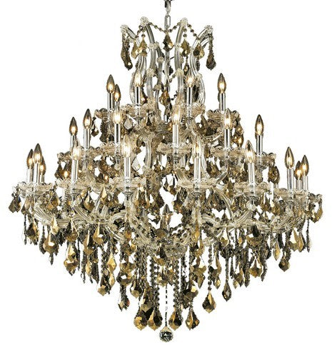 2800 Maria Theresa Collection Large Hanging Fixture D44in H44in Lt:36+1 Chrome Finish (Swarovski Strass/Elements Golden Teak)