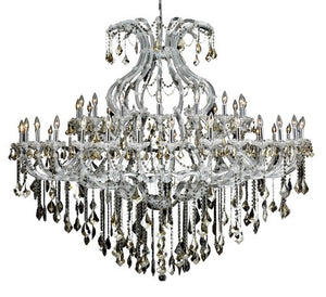 2800 Maria Theresa Collection Large Hanging Fixture D72in H60in Lt:48+1 Chrome Finish (Royal Cut Golden Teak)
