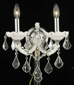2800 Maria Theresa Collection Wall Sconce W12in H12in E8.5in Lt:2 White Finish (Swarovski Strass/Elements Crystal)