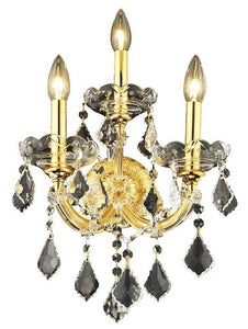 2800 Maria Theresa Collection Wall Sconce W12in H16in E8.5in Lt:3 Gold Finish (Royal Cut Crystal)
