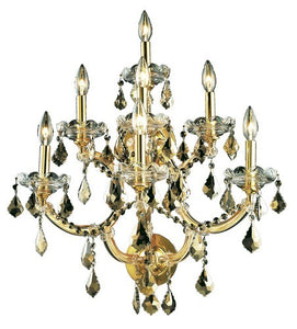 2800 Maria Theresa Collection Wall Sconce W22in H29.5in E15.5in Lt:7 Gold Finish (Swarovski Strass/Elements Golden Teak)