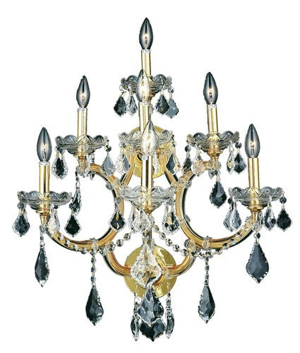 2800 Maria Theresa Collection Wall Sconce W22in H29.5in E15.5in Lt:7 Gold Finish (Swarovski Spectra Crystal)