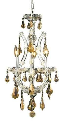 2801 Maria Theresa Collection Hanging Fixture D12in H22in Lt:3+1 Chrome Finish (Royal Cut Golden Teak Crystal)