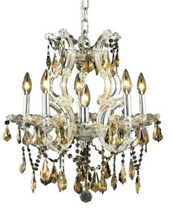 2801 Maria Theresa Collection Hanging Fixture D20in H25in Lt:5+1 Chrome Finish (Royal Cut Golden Teak)