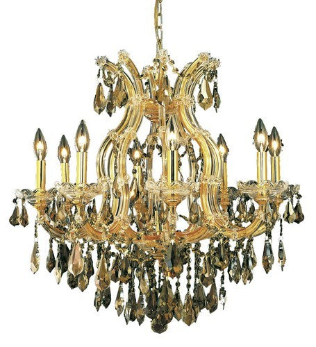 2801 Maria Theresa Collection Hanging Fixture D26in H26in Lt:8+1 Gold Finish (Royal Cut Golden Teak)
