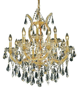 2801 Maria Theresa Collection Hanging Fixture D27in H26in Lt:8+4+1 Gold Finish (Swarovski Strass/Elements Crystal)