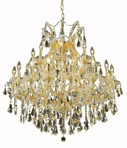 2801 Maria Theresa Collection Hanging Fixture D36in H36in Lt:24+1 Gold Finish (Swarovski Strass/Elements Golden Teak)