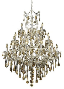 2801 Maria Theresa Collection Large Hanging Fixture D38in H52in Lt:27+1 Chrome Finish (Royal Cut Golden Teak)