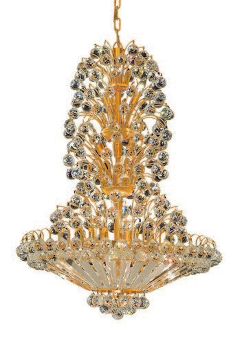 2908 Sirius Collection Hanging Fixture D28in H36in Lt:14 Gold Finish (Swarovski Strass/Elements Crystals)