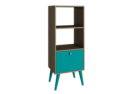 Accentuations by Manhattan Comfort Sophisticated Sami Double Bookcase with 2 Open Shelves and 1- Drawer in Oak and Aqua