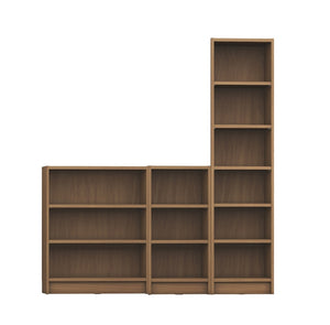 Manhattan Comfort Greenwich 3- Piece Bookcase 12- Wide and Narrow Shelves in Maple Cream