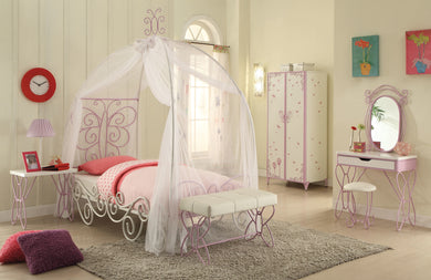 Acme Priya II Full Bed with Canopy, White & Light Purple