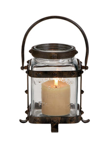 Unique Metal Glass Lantern With Lettered Inscriptions