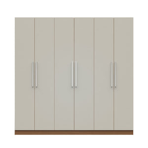"Manhattan Comfort  Eldridge 2.0 - 91"" 3 Sectional Wardrobe with 4 Drawers and 6 Doors in Off White and Maple Cream"