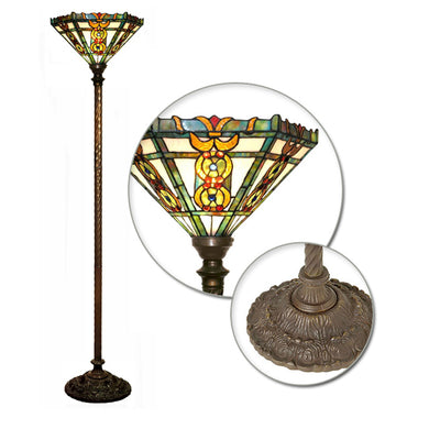 Tiffany-style Roma Torchiere Lamp