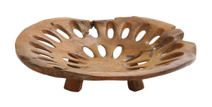 Plate With Hole In Pure Teak Construction For Dining Table