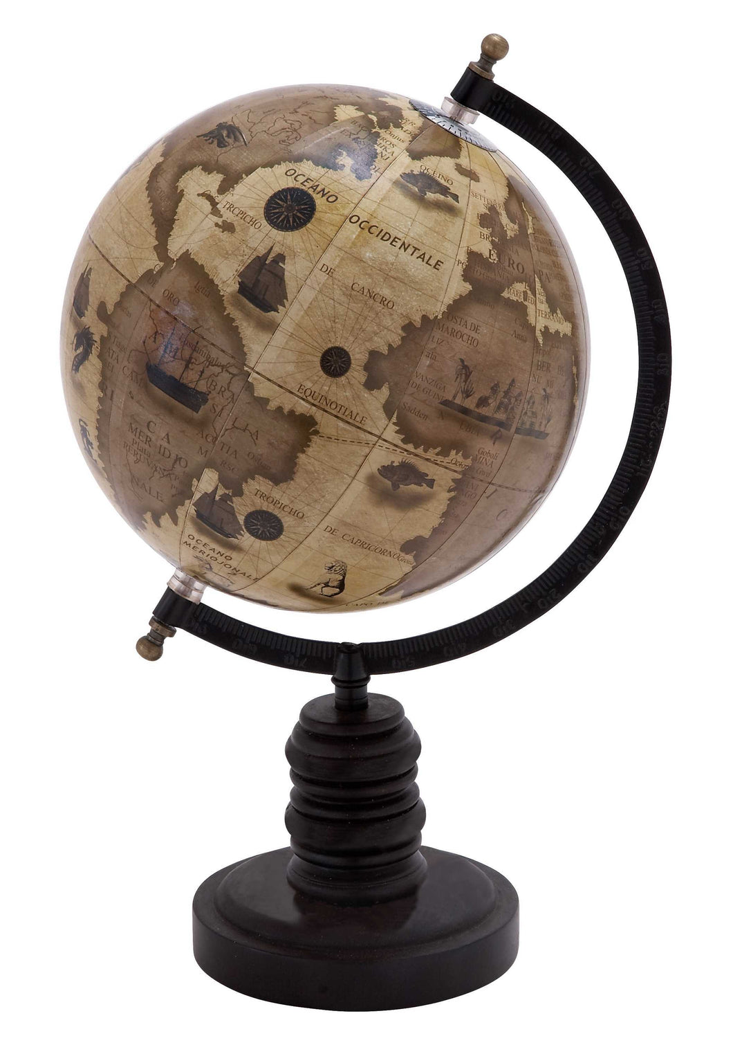 Contemporary Wooden And Metal Globe With Metallic Black Finish