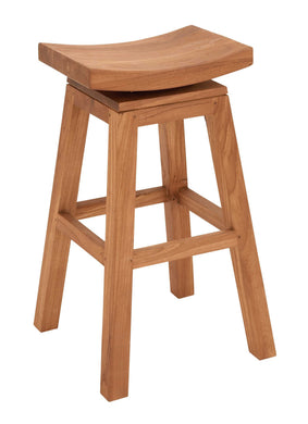 Sophisticated Teakwood Bar Stool In Glossy Brown Finish