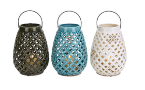 Checks Style Creative Glossy Ceramic Lantern 3 Assorted