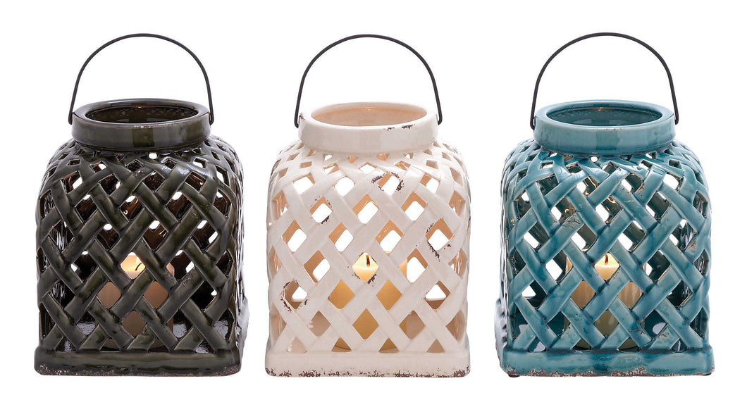 Intricately Designed Smart Styled Ceramic Lantern 3 Assorted
