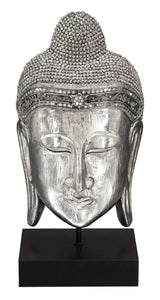 Meditating Buddha In Polystone Buddha Head Replica