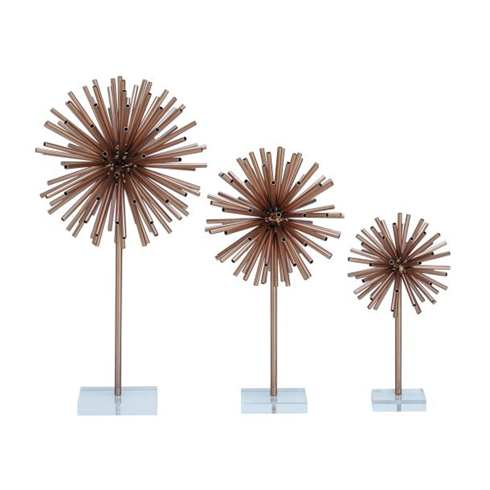 Gorgeous Metal Acrylic Sculpture Set of 3
